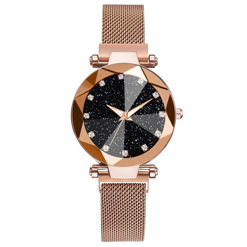 ساعة يد نسائية مرصعة بالنجوم والألماس من الكوارتز