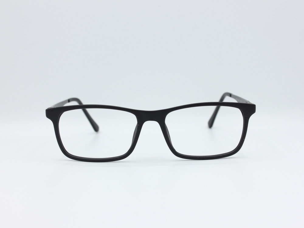 نظارة طبية من ماركة T مستطيلة مع عدسات بحماية لون الاطار اسود و فضي