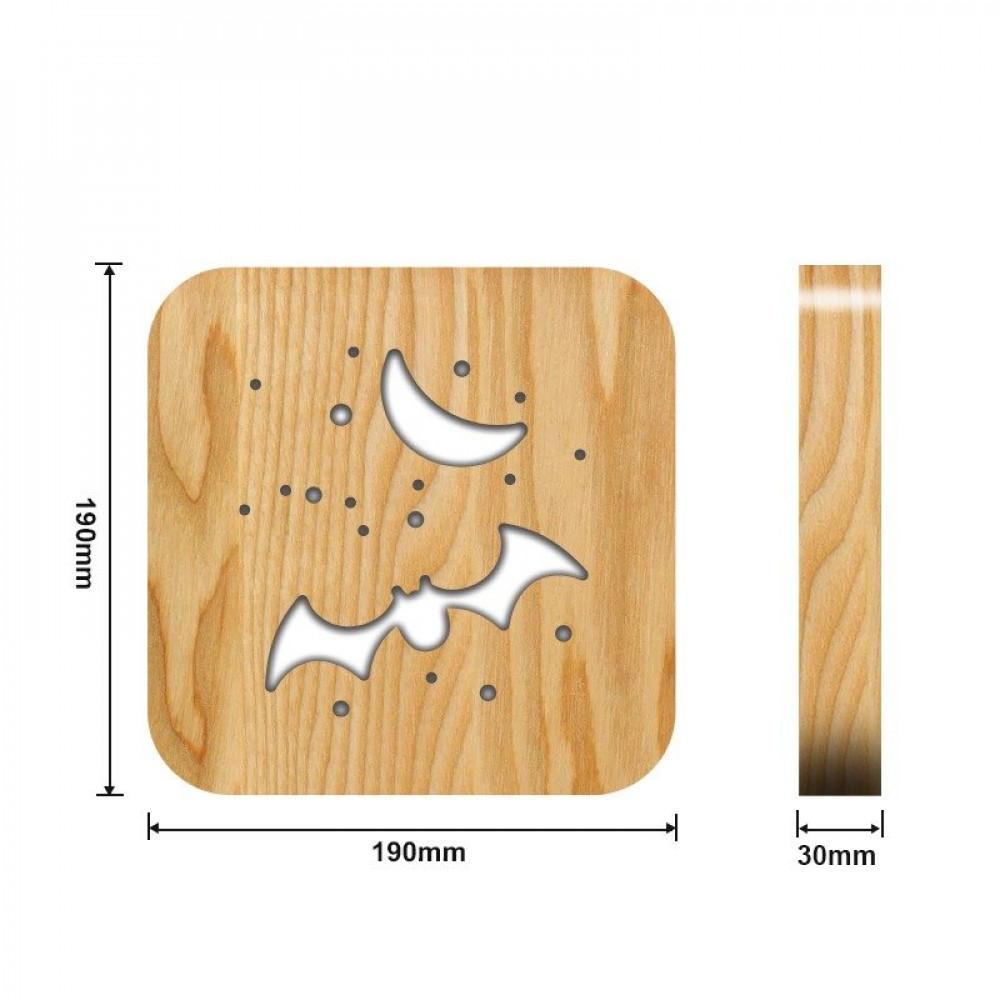 تحفة شكل الخفاش مضيئة خشبية من مواسم  القياسات التفصيلية للتحفة