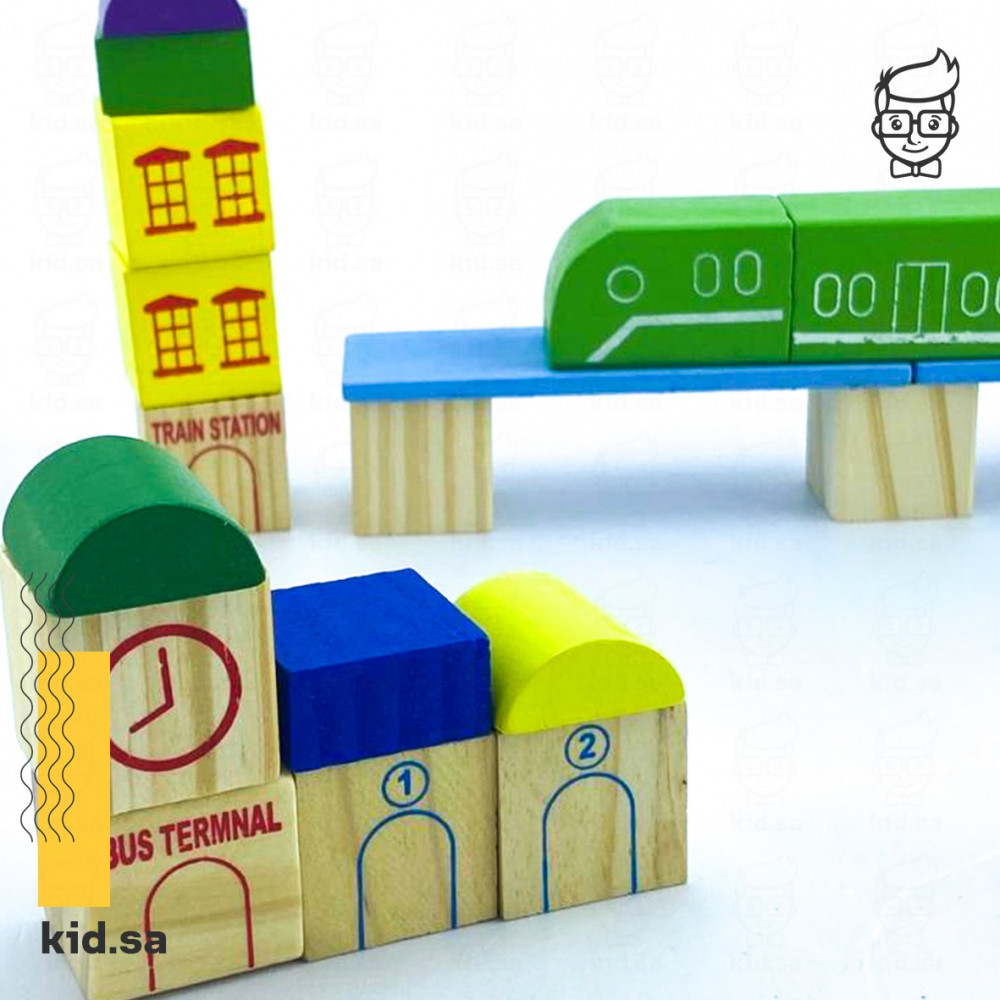 لعبة مدينة خشبية للاطفال