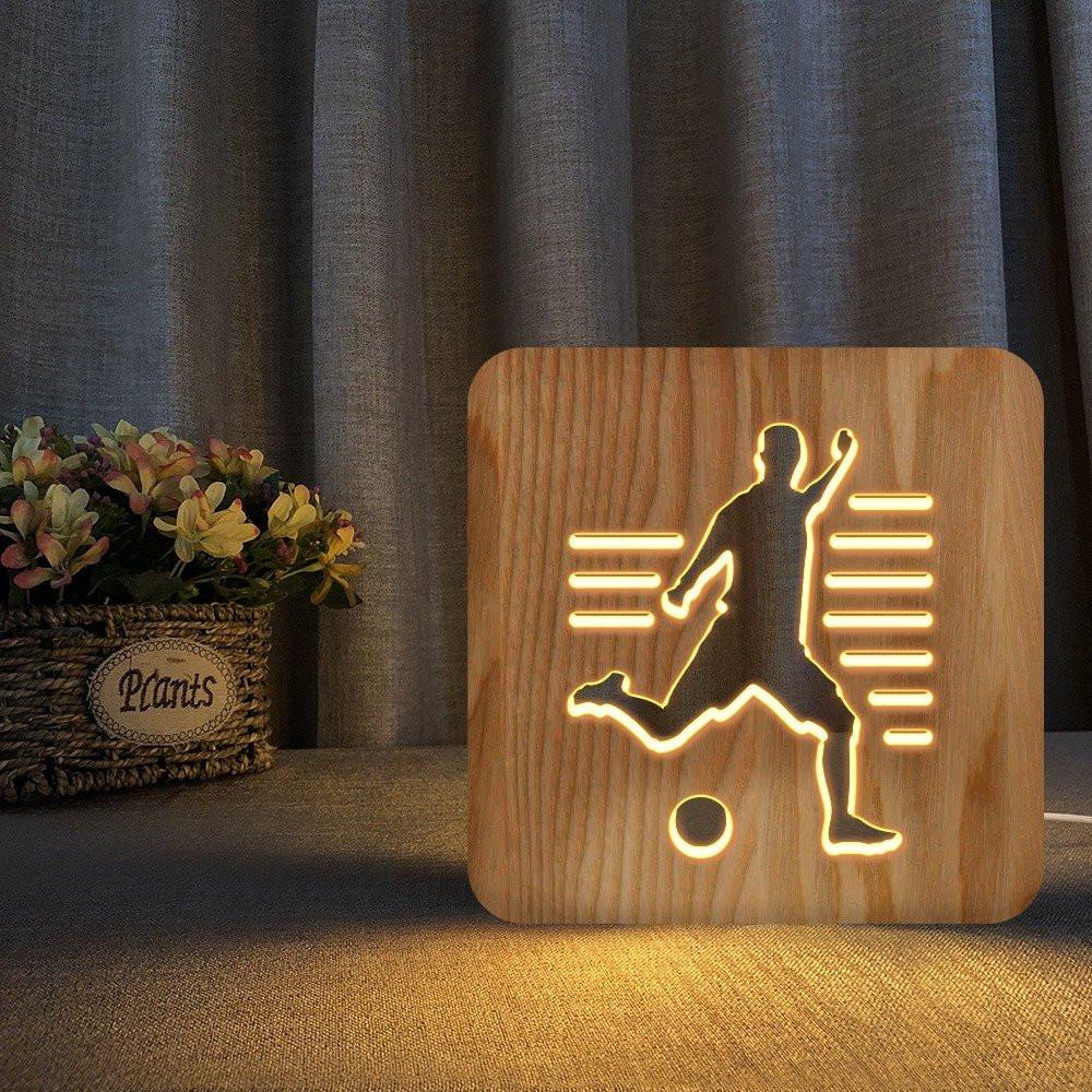 مواسم تحفة لاعب كرة مضيئة خشبية مصنوعة من خشب عالي الجودة