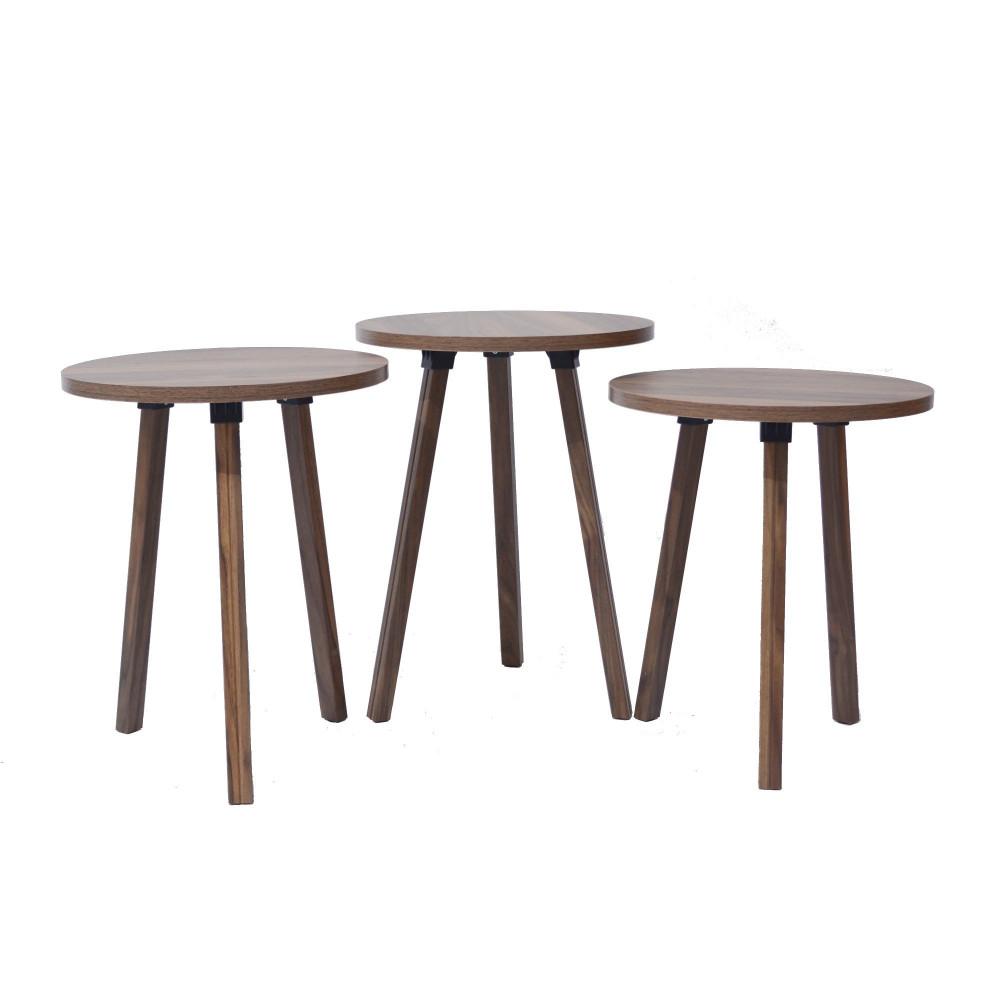 طقم طاولات شاي ثلاثي بني C-EY-01