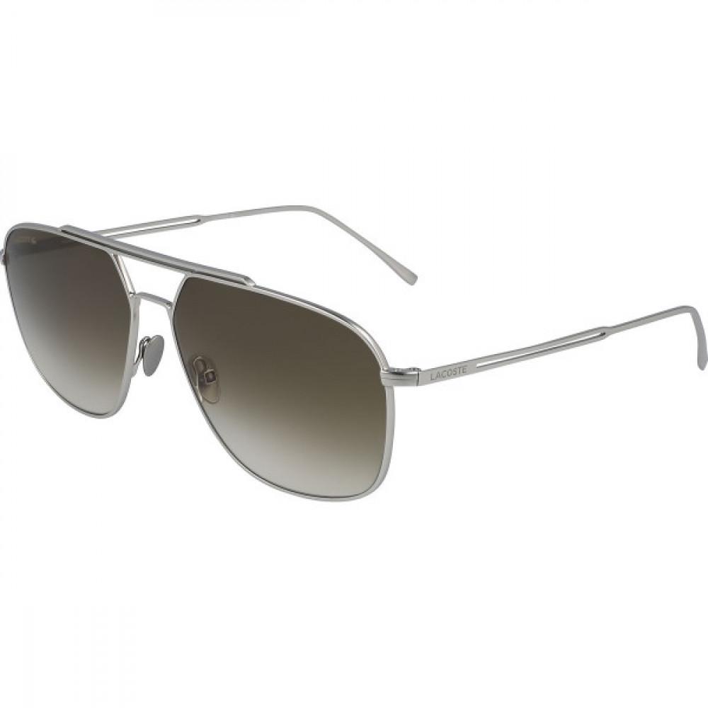 نظارة لاكوست شمسية للرجال والنساء - شكل افياتور - فضي - زكي
