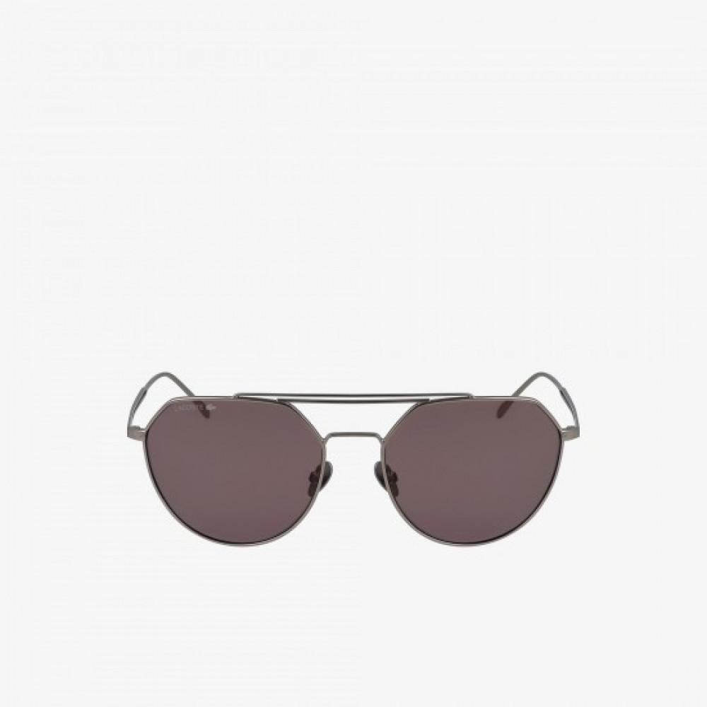 افضل نظارة لاكوست شمسية للجنسين - شكل افياتور - فضي - زكي للبصريات