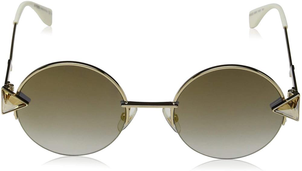 افضل نظارة فندي نسائي شمسية - شكل دائري - لون ذهبي - زكي