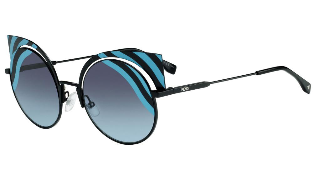 نظارة فندي نسائي شمسية - شكل غير منتظم - لونها اسود - زكي