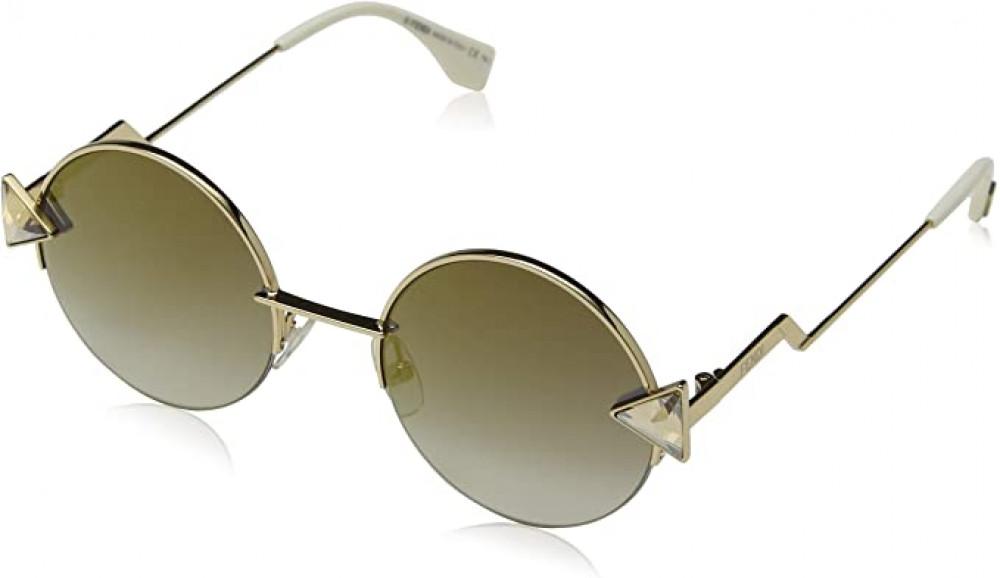 نظارة فندي نسائي شمسية - شكل دائري - لون ذهبي - زكي