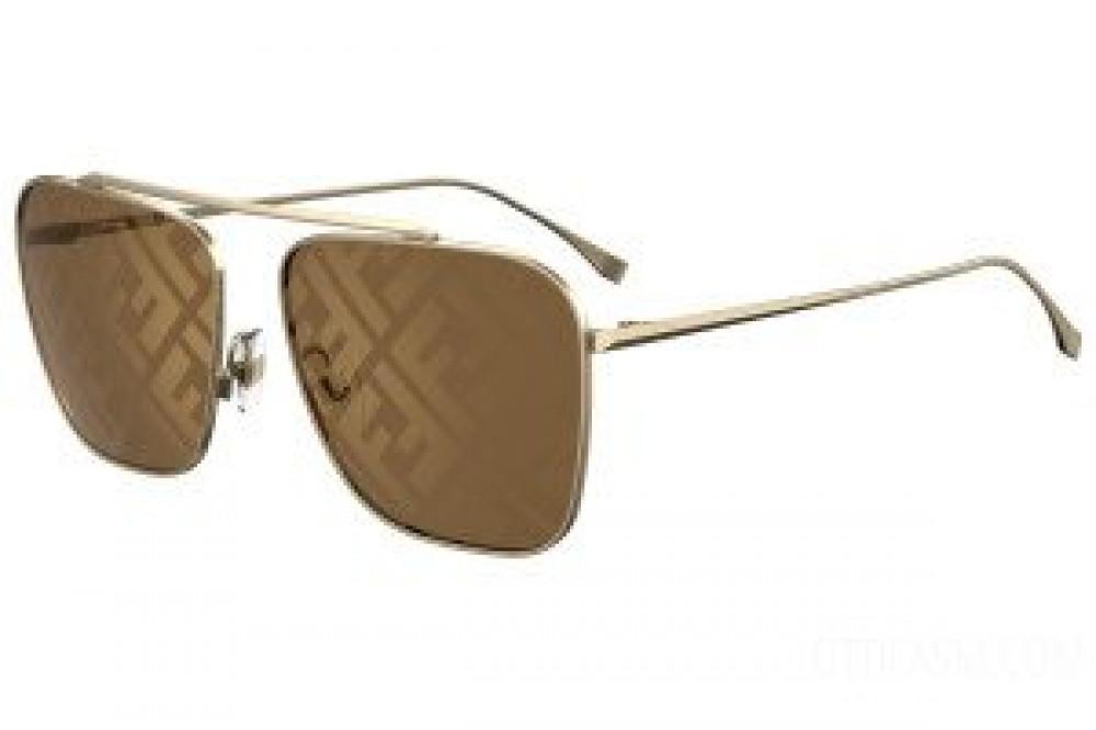 نظارة فندي شمسيه للجنسين - شكل مستطيل - لون ذهبي - زكي للبصريات