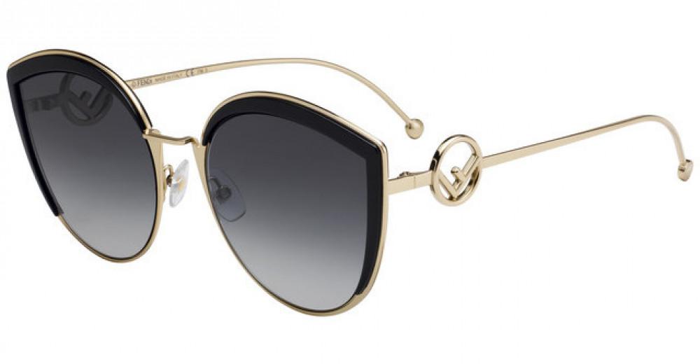 نظارة فندي نسائي شمسية - غير منتظمة الشكل - لون ذهبي - زكي