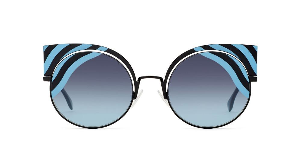 افضل نظارة فندي نسائي شمسية - شكل غير منتظم - لونها اسود - زكي