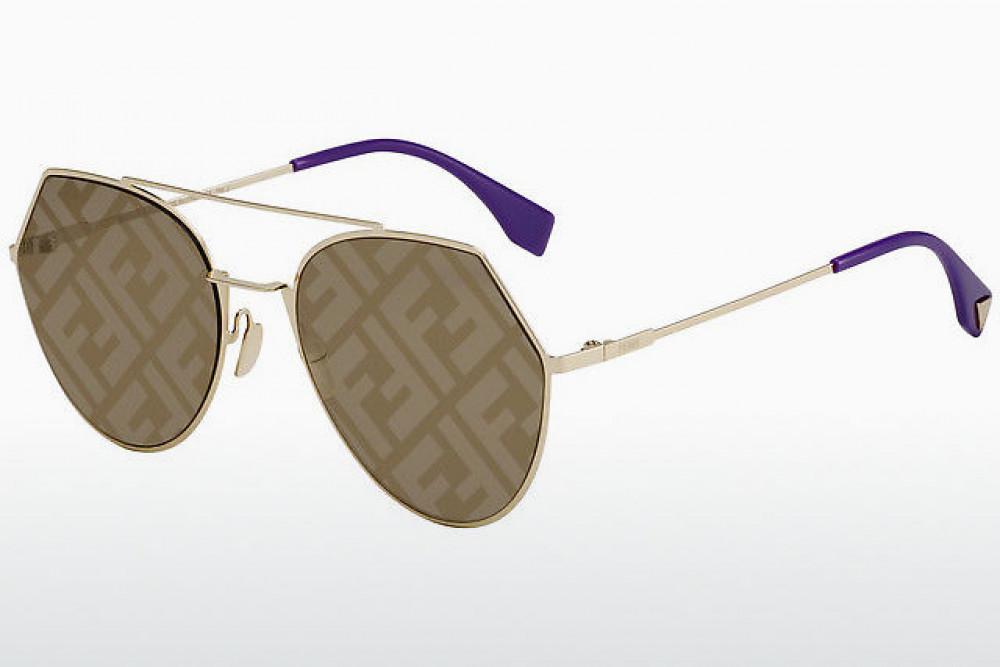 نظارة فندي شمسية للجنسين - غير منتظمة الشكل - اللون ذهبي - زكي للبصريا