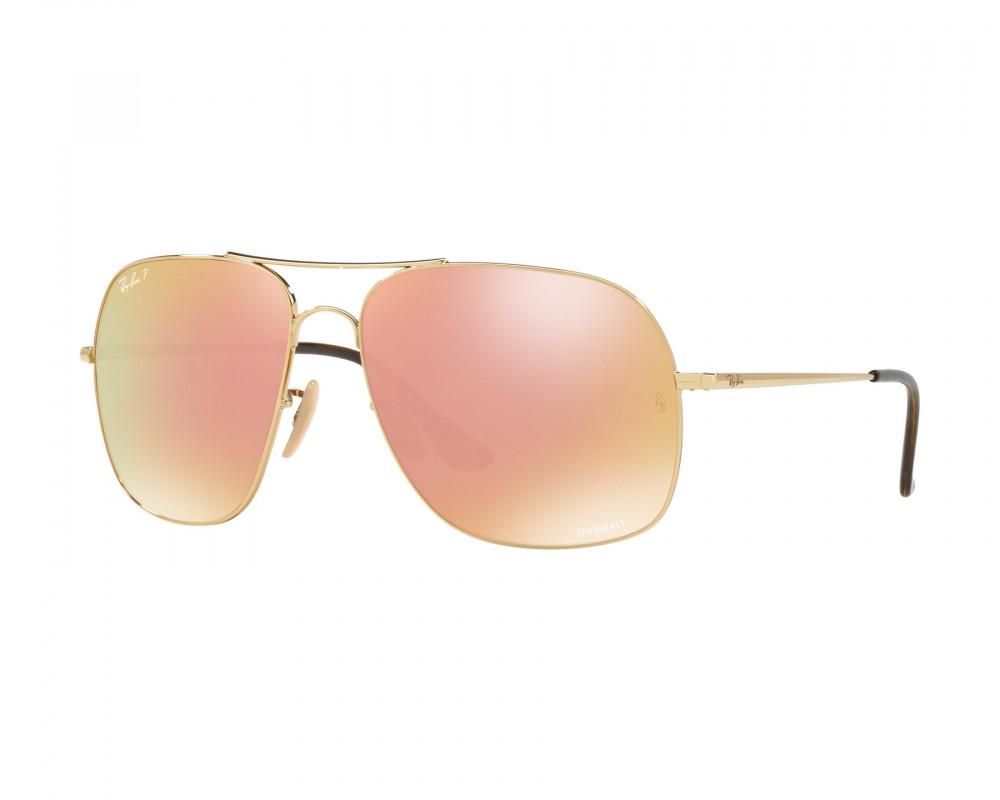 نظارة ريبان شمسية للرجال - لون ذهبي - مربعة الشكل - زكي للبصريات