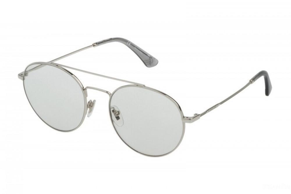 نظارة بوليس شمسية للرجال - شكل دائري - لون فضي - زكي للبصريات