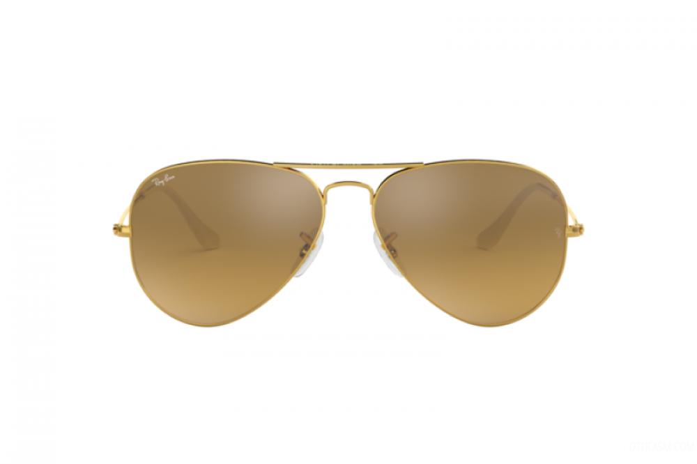 افضل نظارة ريبان شمسية رجالية - شكل افياتور - لون ذهبي - زكي للبصريات