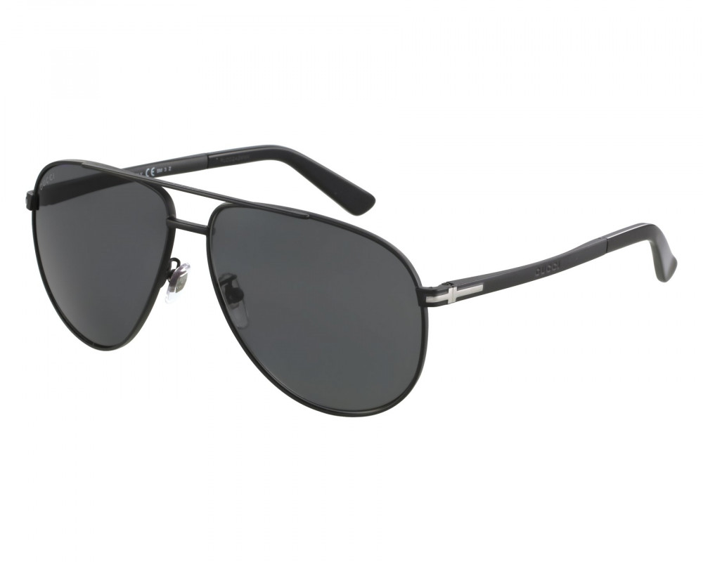 نظارة قوتشي شمسية للرجال - شكل افياتور - لون أسود - زكي للبصريات