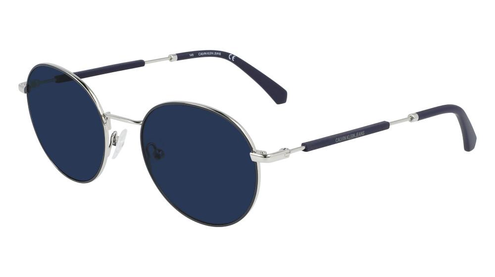 نظارات كالفن كلاين الشمسية للرجال - شكل دائري - لون فضي - زكي للبصريات