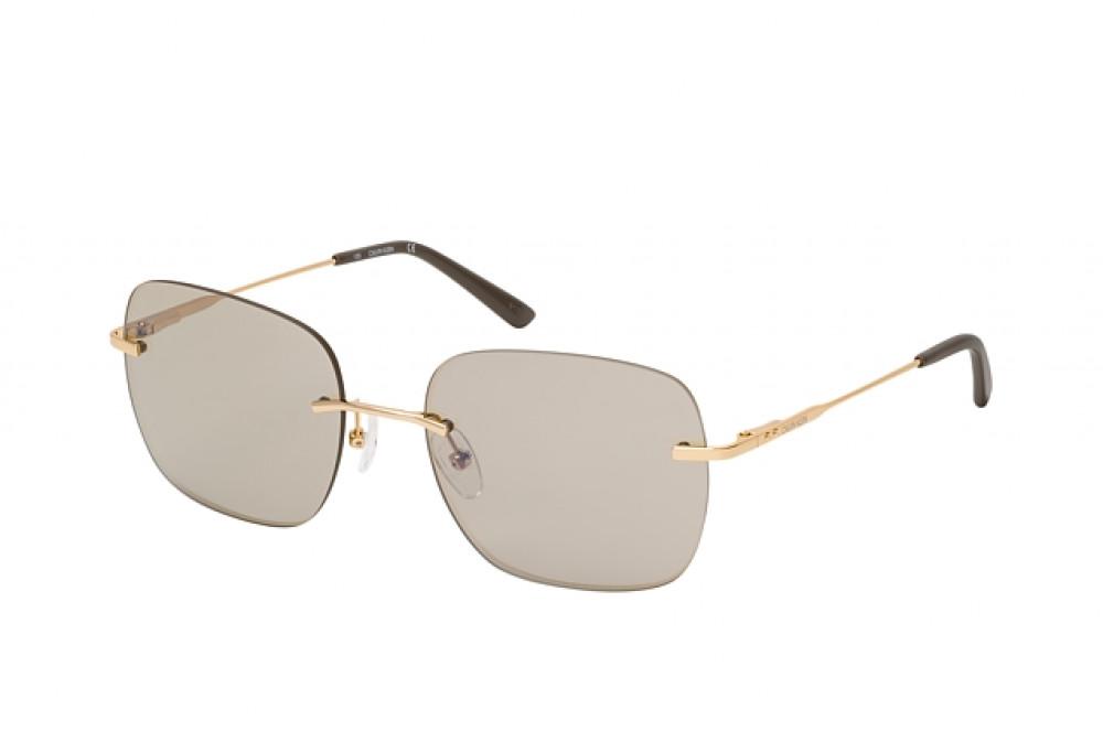 نظارة شمسية كالفن كلاين للنساء - شكل مربع - لون عسلي - زكي