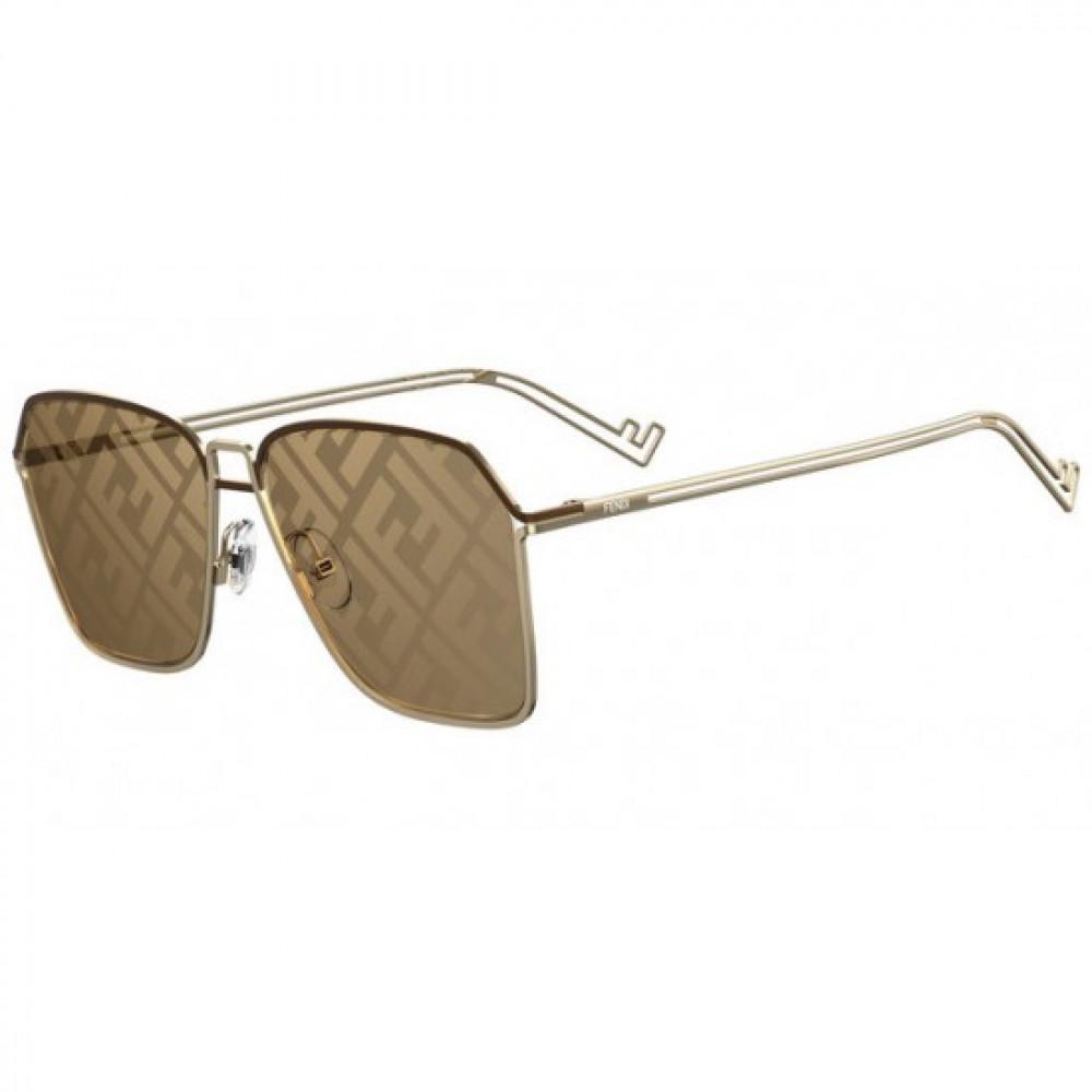 نظارة فندي شمسية للجنسين - شكل مستطيل - لون ذهبي - زكي