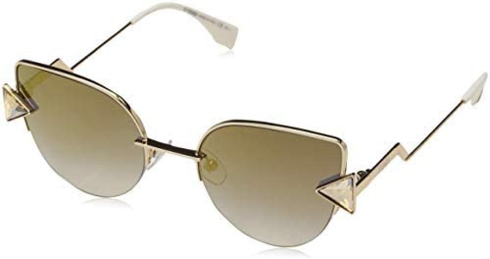 نظارة فندي نسائي شمسية - شكل واي فيرر - لون ذهبي - زكي
