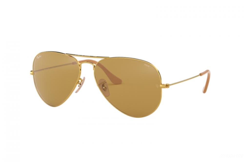 نظارة ريبان شمسية رجالية ونسائيه - افياتور - لون ذهبي - زكي للبصريات