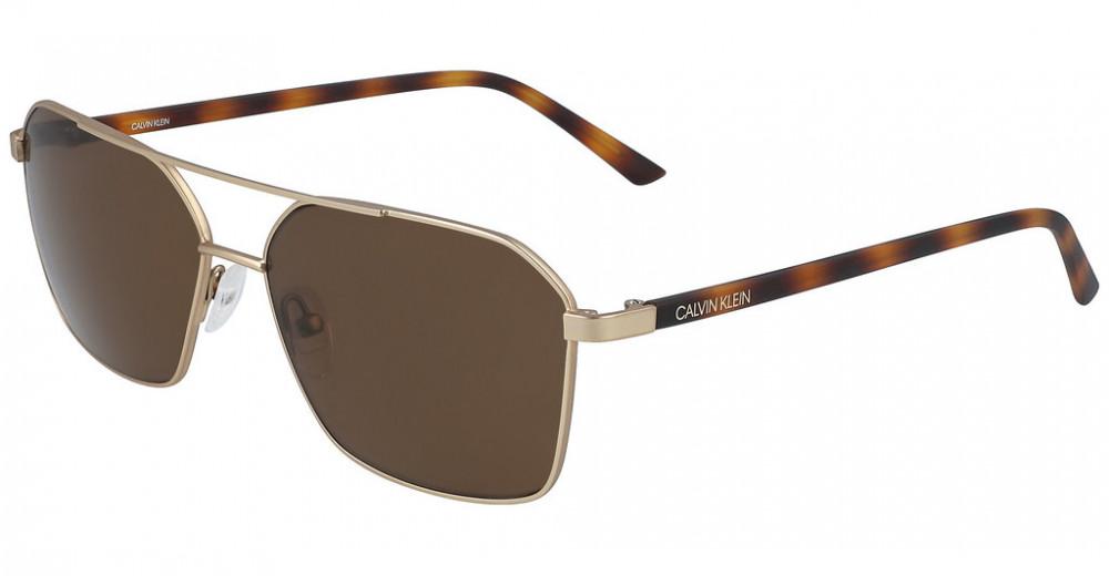 نظارات كالفن كلاين الشمسية للرجال - شكل افياتور - لون ذهبي - زكي