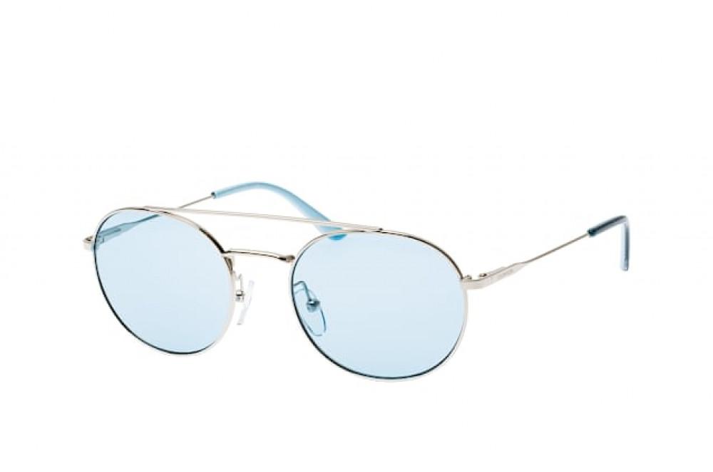 نظارات كالفن كلاين الشمسية للجنسين - شكل دائري - لون فضي - زكي