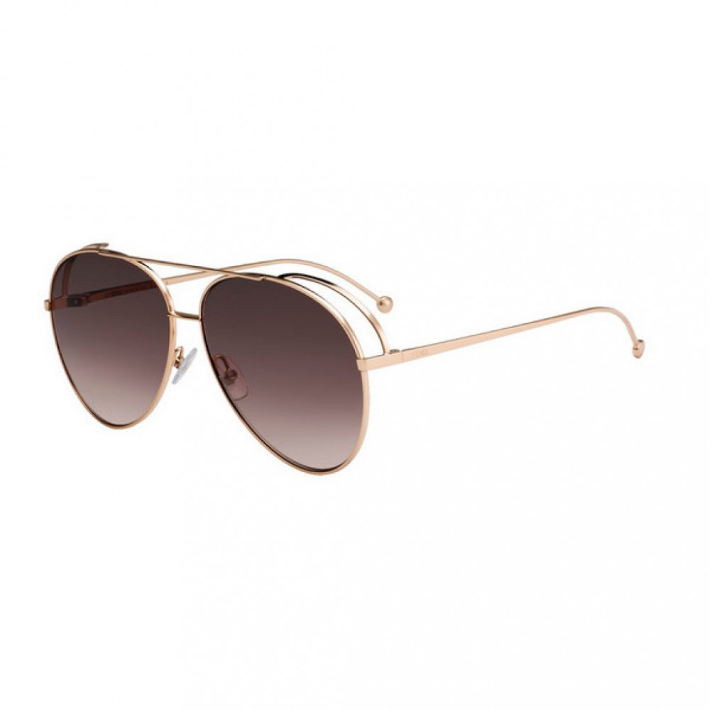 نظارة فندي نسائي شمسية - شكل افياتور - لون نحاسي - زكي