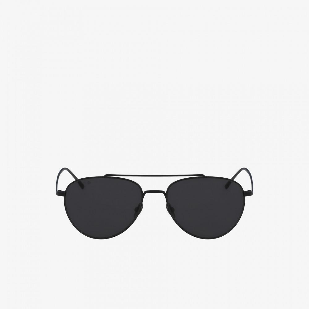 افضل نظارة لاكوست شمسي للجنسين - شكل افياتور - لون أسود - زكي للبصريات