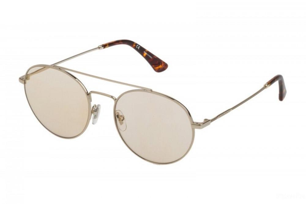 نظارة بوليس شمسية للرجال - شكل دائري - لون ذهبي - زكي للبصريات