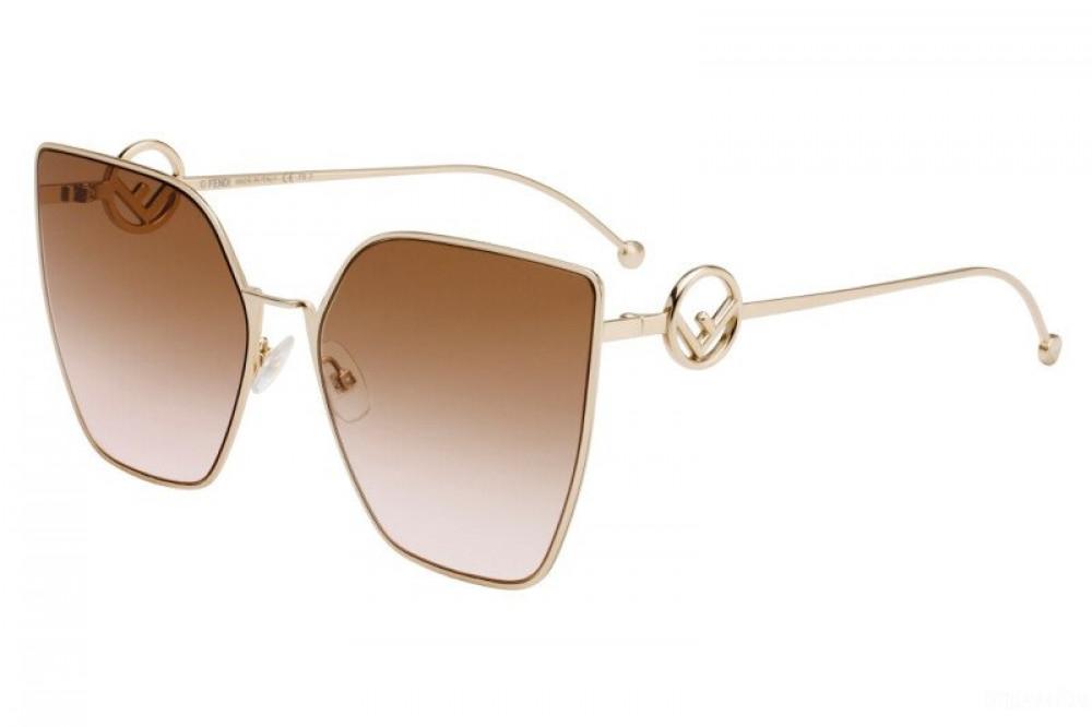 نظارة فندي نسائي شمسية - شكل مربع - لون ذهب - زكي