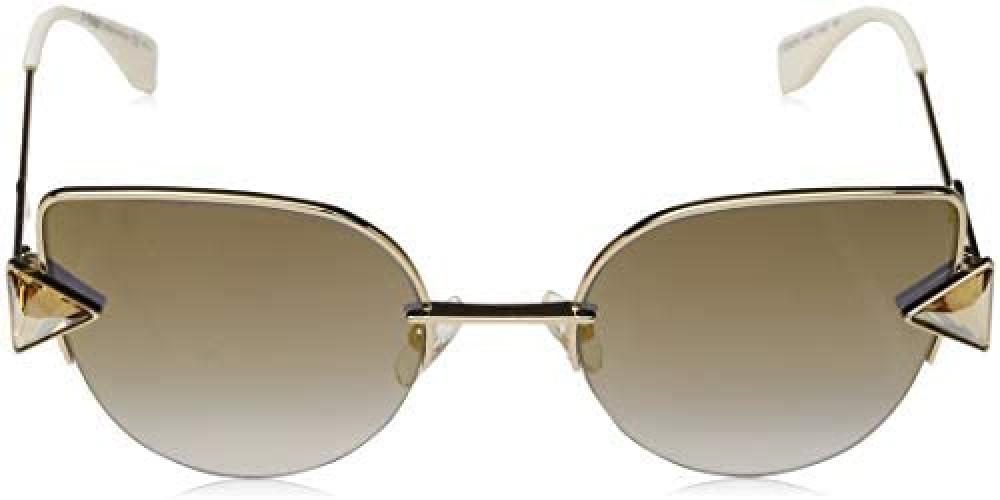 افضل نظارة فندي نسائي شمسية - شكل واي فيرر - لون ذهبي - زكي