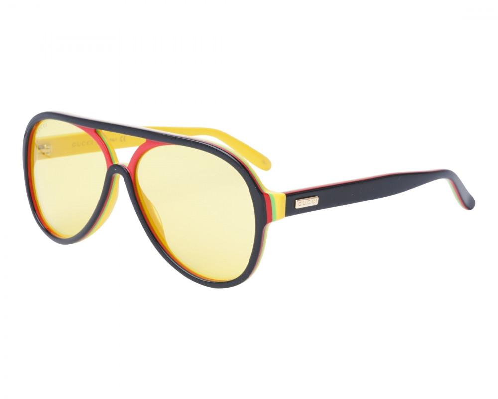 نظارة قوتشي شمسية للرجال - شكل افياتور - سوداء - زكي للبصريات