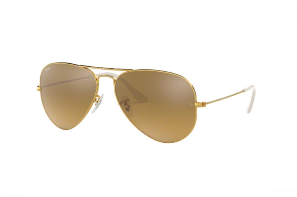 نظارة ريبان شمسية رجالية - شكل افياتور - لون ذهبي - زكي للبصريات