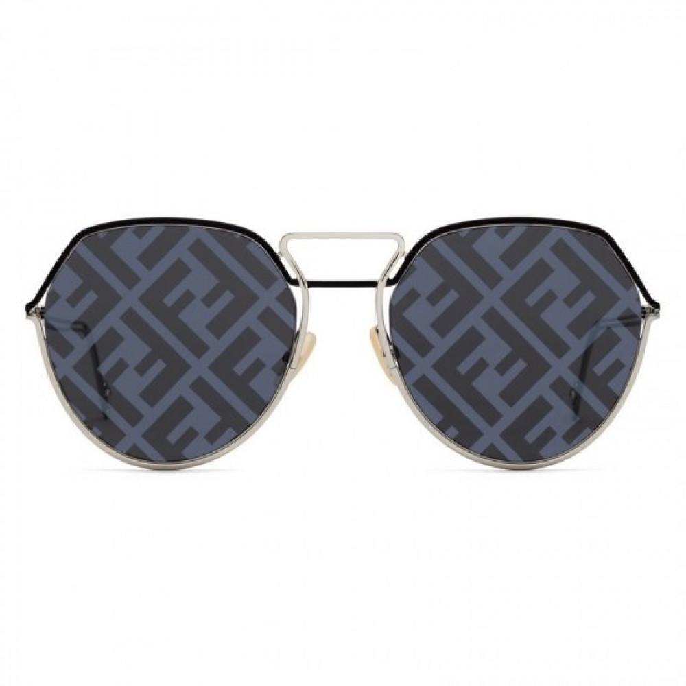 افضل نظارة فندي شمسية للجنسين - غير منتظمة الشكل - لون فضي - زكي