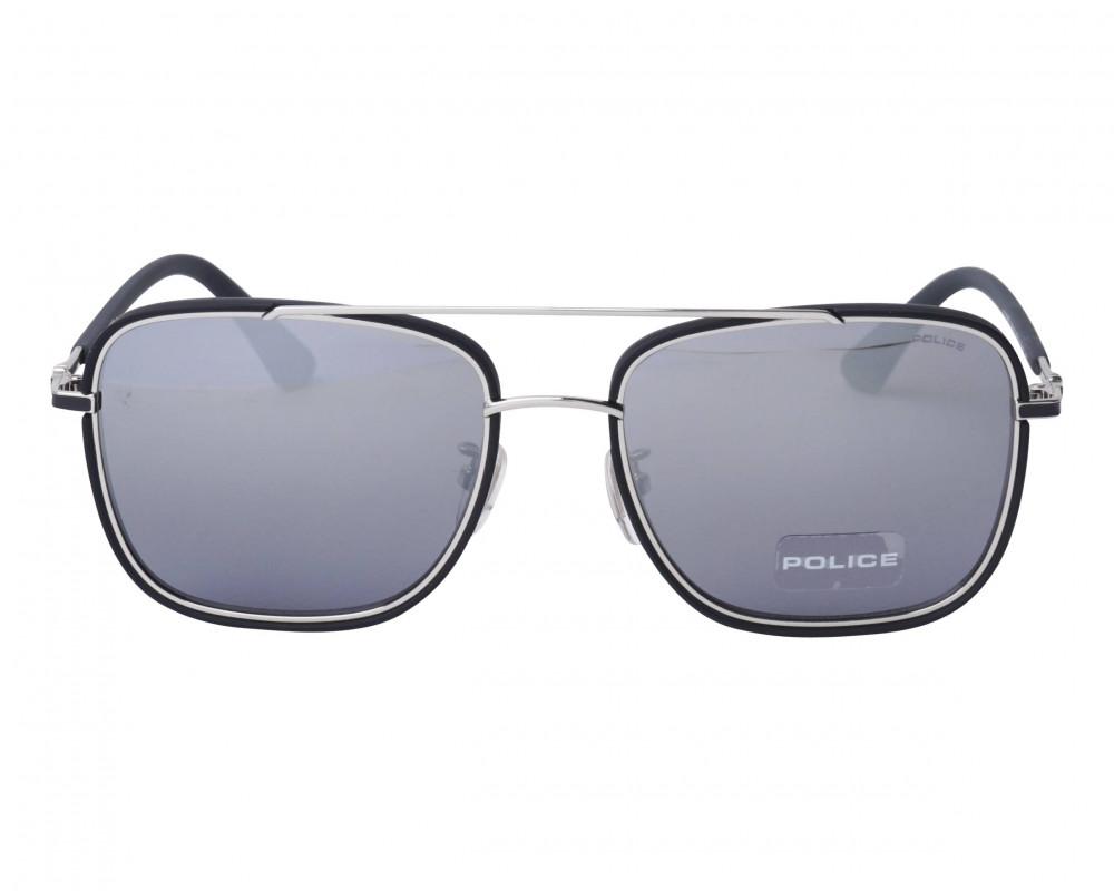افضل نظارة بوليس شمسية للرجال - شكل مربع - لون أسود - زكي للبصريات