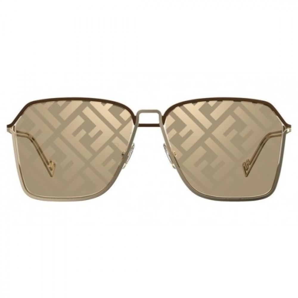 افضل نظارة فندي شمسية للجنسين - شكل مستطيل - لون ذهبي - زكي
