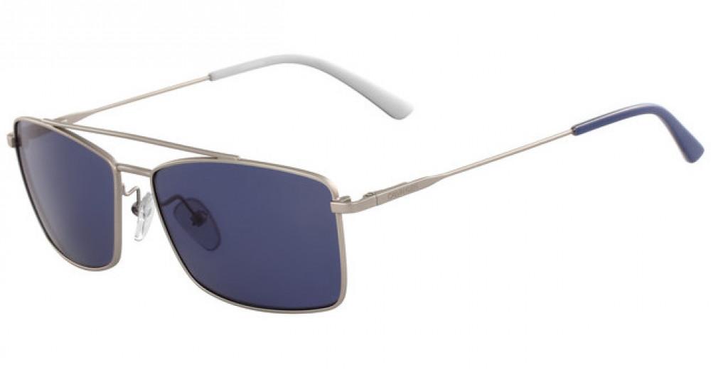 نظارات كالفن كلاين الشمسية للرجال - شكل مستطيل - لون فضي - زكي