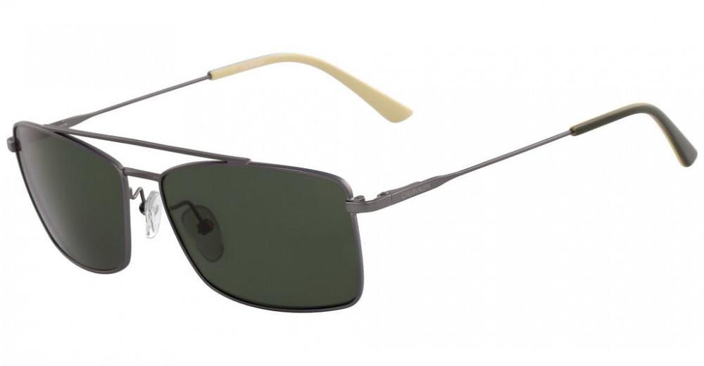 نظارات كالفن كلاين الشمسية للرجال - شكل مستطيل - لون بني - زكي للبصريا
