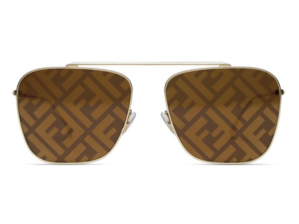 سعر نظارة فندي شمسيه للجنسين - شكل مستطيل - لون ذهبي - زكي للبصريات