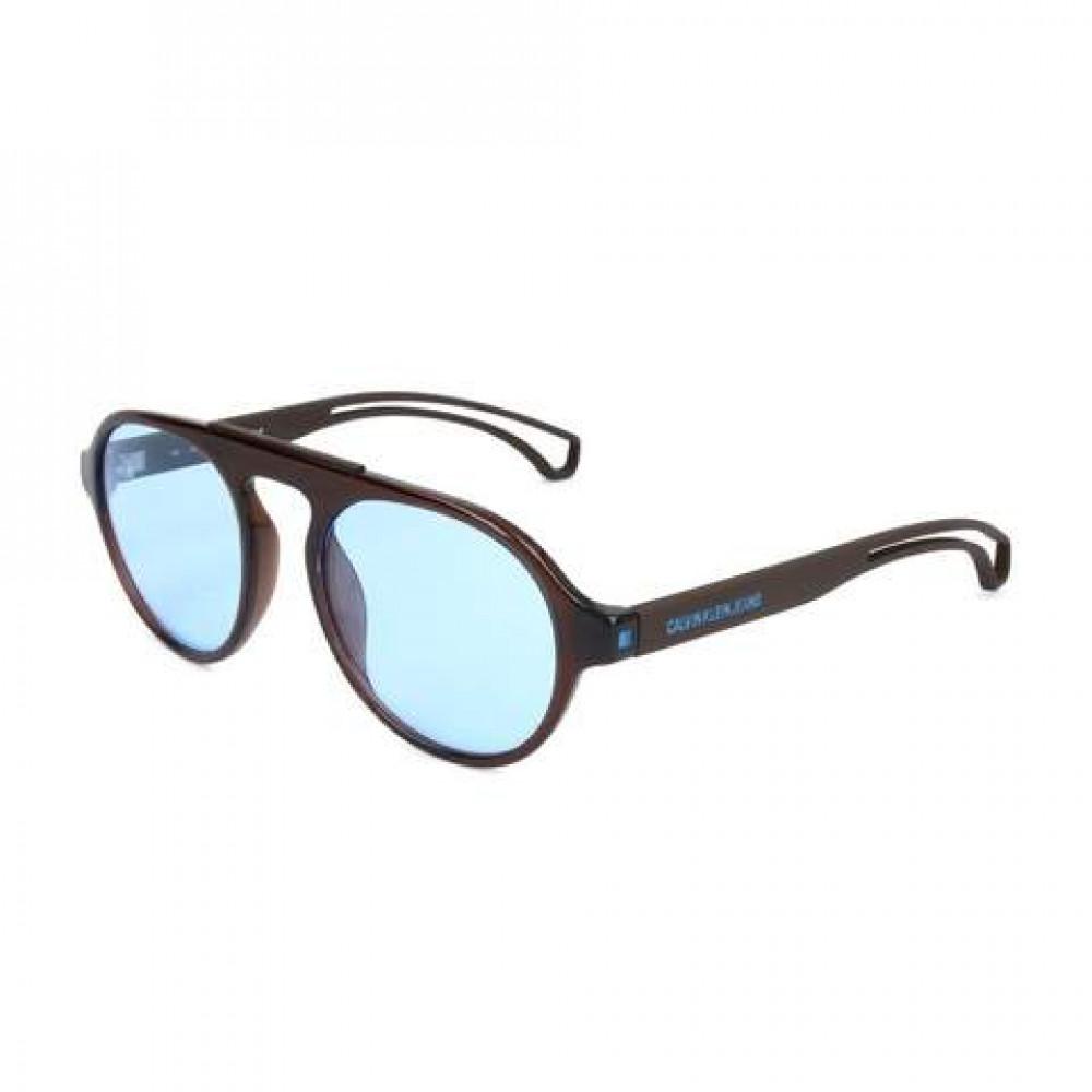 نظارات كالفن كلاين الشمسية للرجال - شكل دائري - لون بني - زكي للبصريات