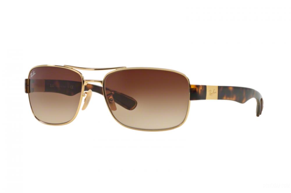 نظارة ريبان شمسية للرجال - مستطيلة الشكل - لون ذهبي - زكي للبصريات