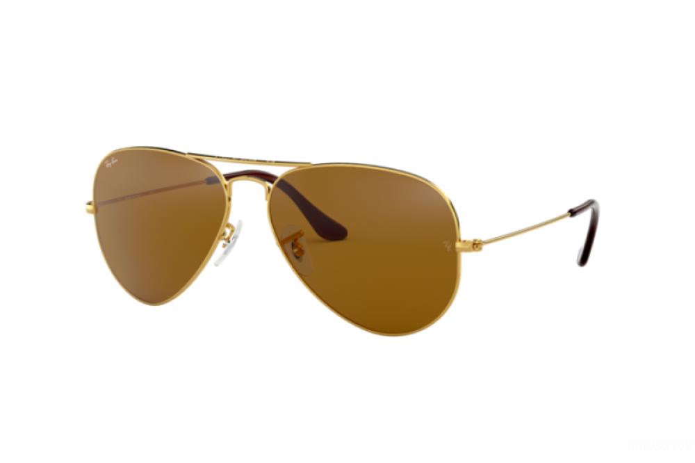 نظارة ريبان شمسية للرجال - شكل افياتور - اللون ذهبي - زكي للبصريات