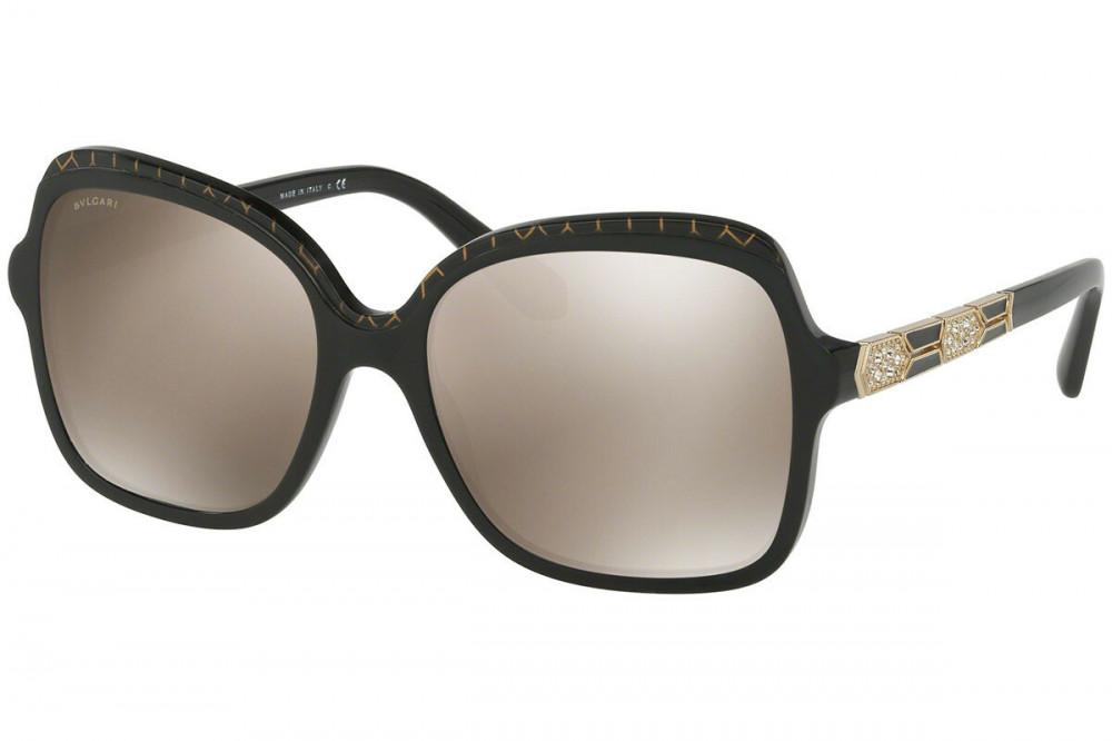 نظارة بولغاري نسائي شمسية - شكل مربع - لون اسود - زكي