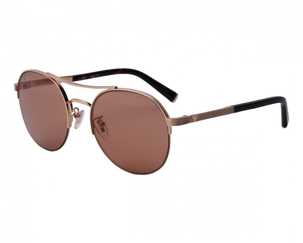نظارة بوليس شمسية للرجال - شكل دائري - لون نحاسي - زكي للبصريات