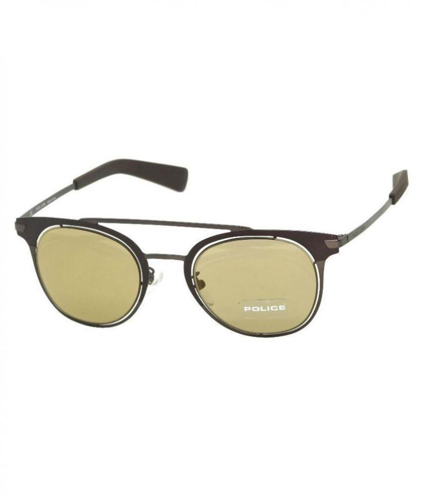 نظارة بوليس شمسية للرجال - شكل دائري - لون بني - زكي للبصريات