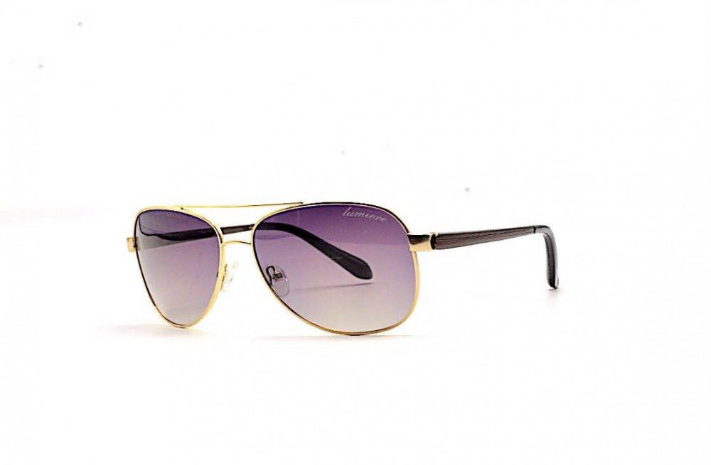 نظارة لومير شمسية للرجال - شكل افياتور - اللون ذهبي - زكي