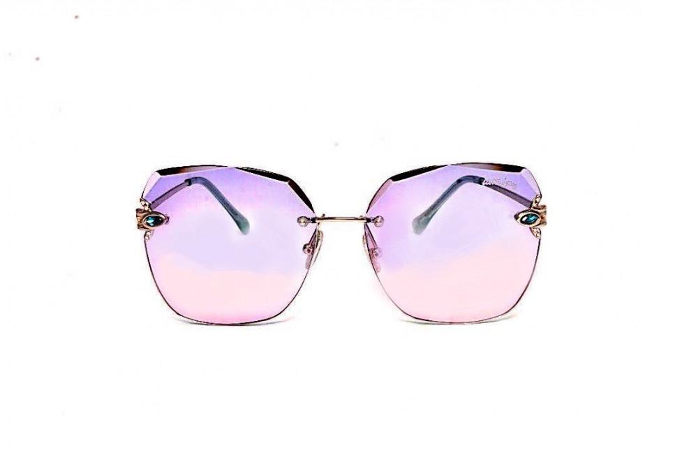 افضل نظارة لومير شمسية للنساء - شكل غير منتظم - لون وردي وبنفسجي - زكي