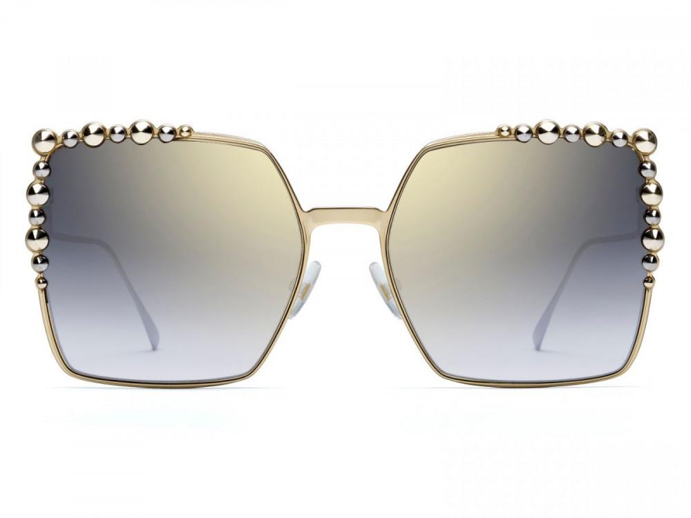 افضل نظارة فندي نسائي شمسية - شكل مربع - لون ذهبي - زكي