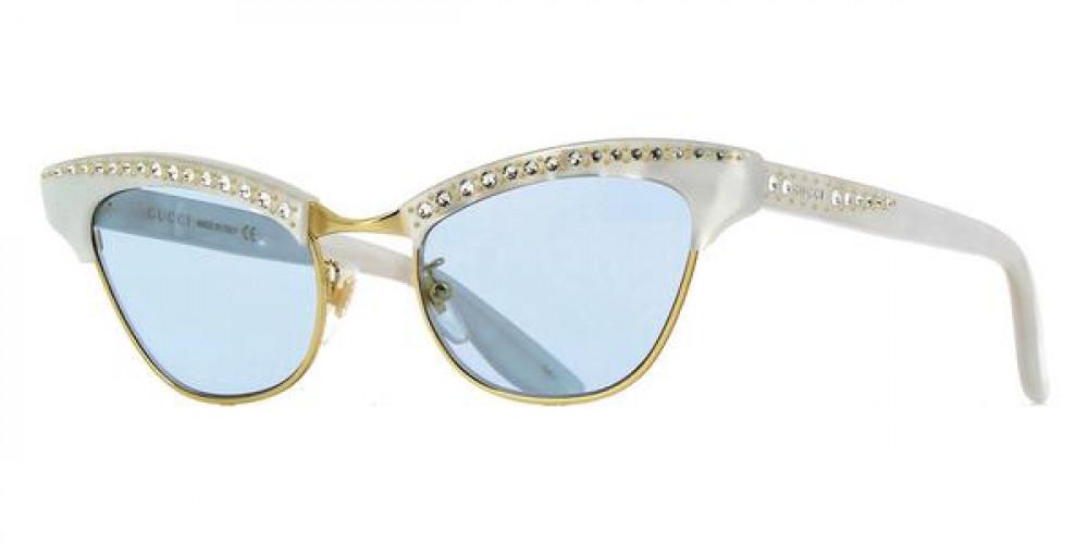 نظارة قوتشي نسائي شمسية - شكل كات أي - لون أبيض - زكي