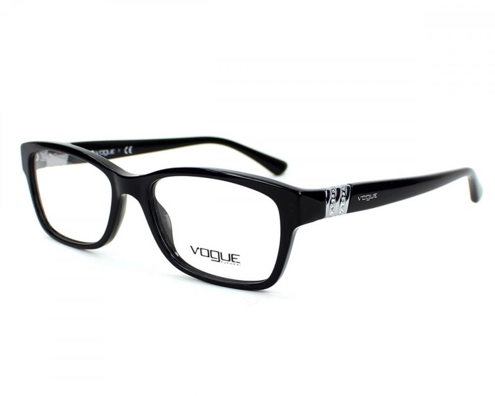 نظارات فوج vogue شمسية للنساء - شكل مستطيل - لون أسود - زكي للبصريات